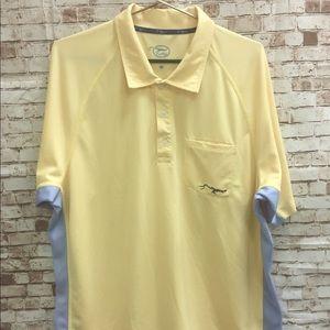 True Flies Golf Polo Yellow Blue Stripe Shirt XXL